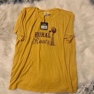 Daisy Rae Rural Roots mustard yellow everyday Tee